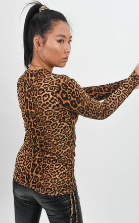 Cheetah Printed Side Ruched Long Sleeve Fitted Top by Boutique Store