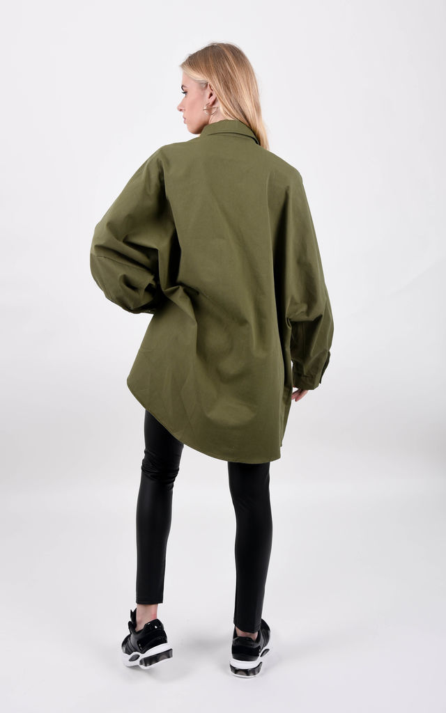 Khaki Oversized Front Pocket Shirt Dress by Boutique Store