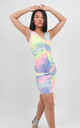 Tie Dye Ruched V Neck Dress In Pink by Boutique Store