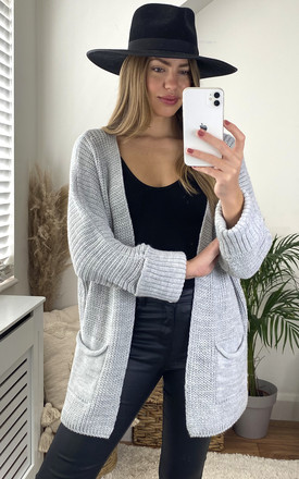 Knitted Cardigan With Pockets In Silver Grey by Aftershock London