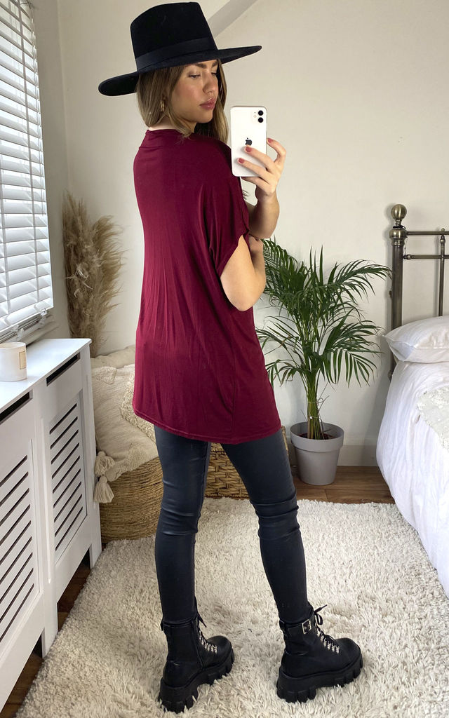 Oversized T-Shirt In Wine by Aftershock London