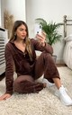 Brown Velour Tracksuit | Long Sleeve Hooded Top/Jogging Bottoms by CY Boutique