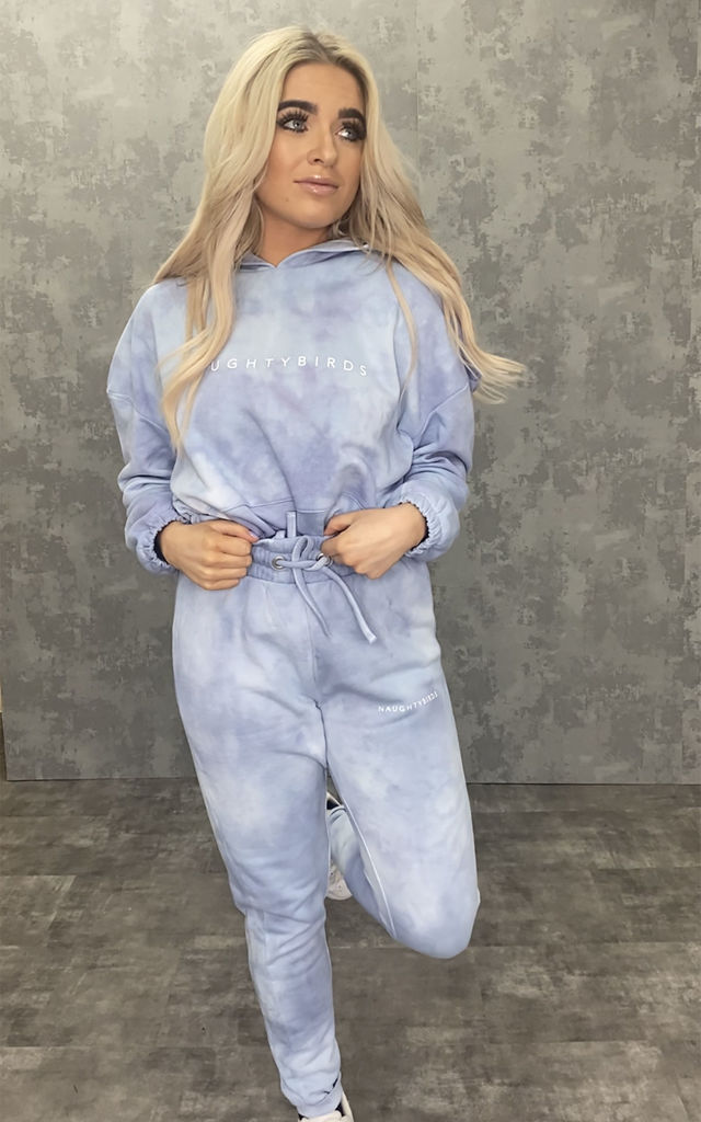 Baby Blue Tie Dye Cropped Hoodie by Naughtybirds