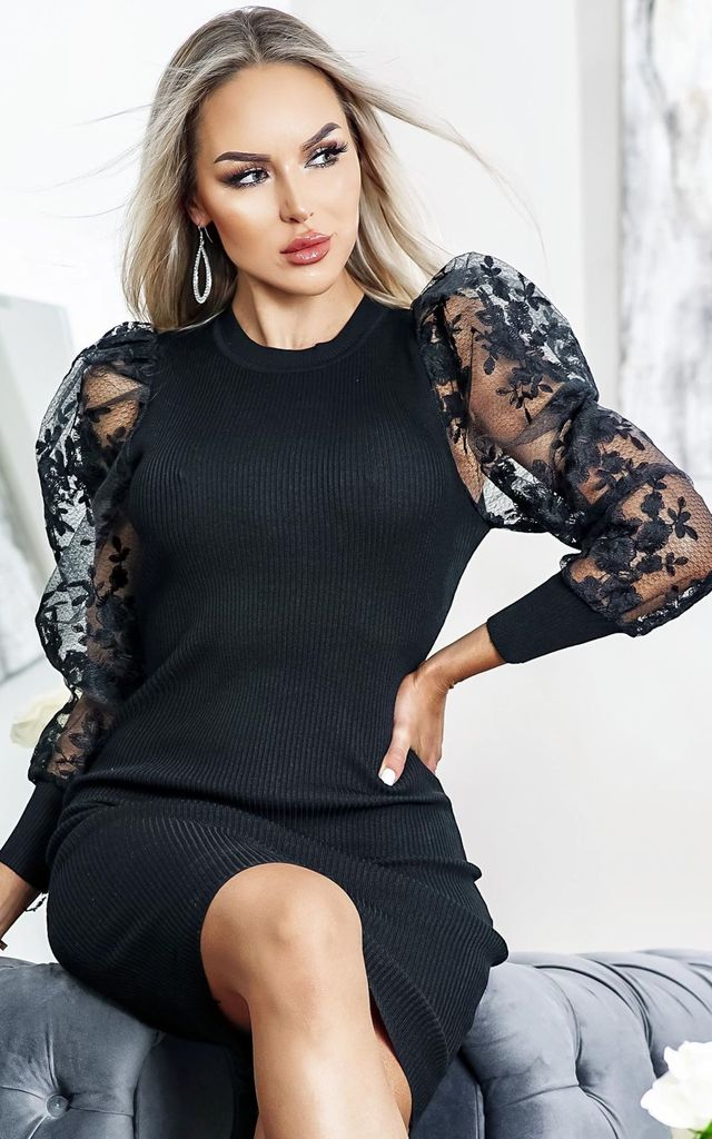 Tyler Black Floral Organza Sleeve Ribbed Dress by Missfiga