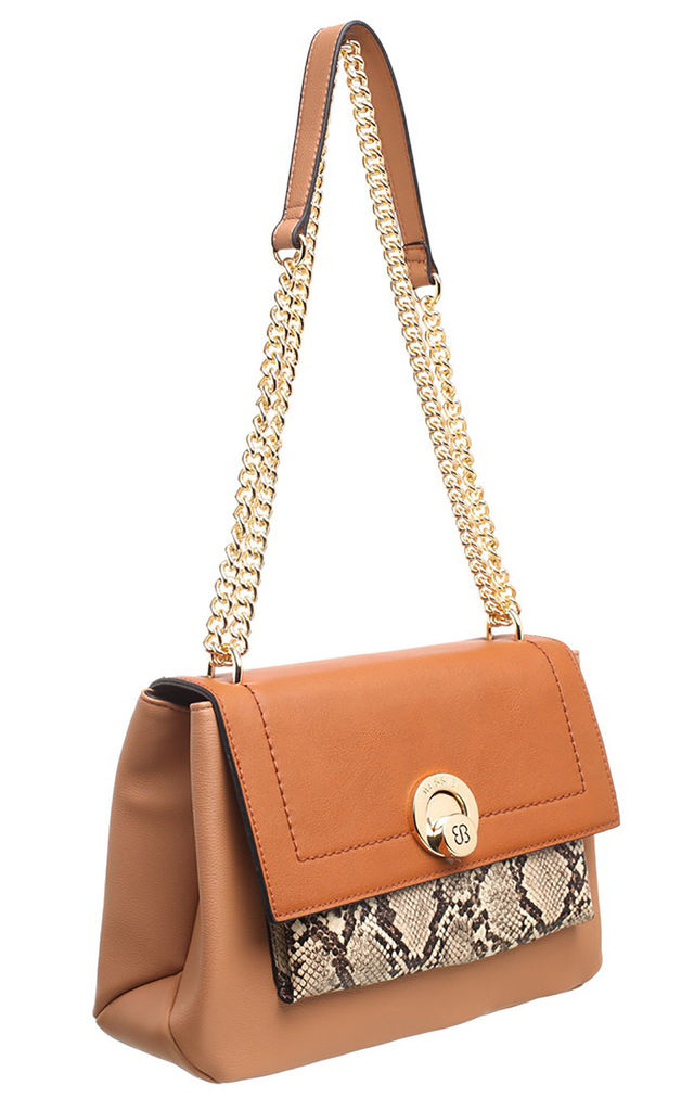 SNAKE PRINT FLAP OVER BAG TAN by BESSIE LONDON
