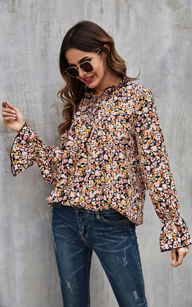 Pink Yellow White Floral Print Smock Ruffle Top In Navy by FS Collection