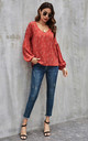 High Low Smock V Neck Top In Red by FS Collection