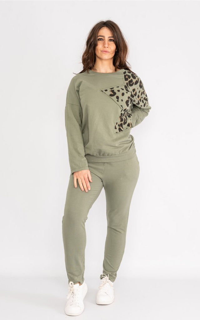 Animal Print Star tracksuit oversized sweat / oversized jogger in khaki green by LOES House
