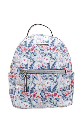 FLORAL PRINT BACKPACK FLAMINGO by BESSIE LONDON