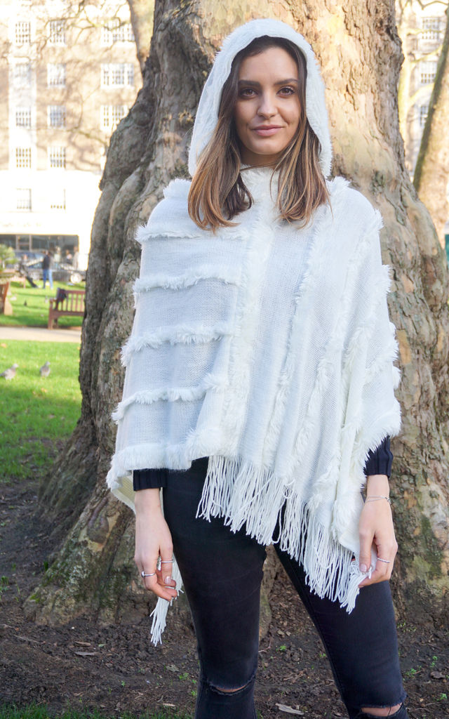 White Cosy Wrap Poncho Sweater with Chevron Stripes & Tassel Knit Fringes by Trillion London