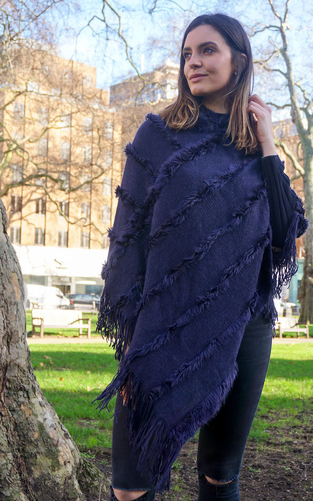 Navy Blue Cosy Wrap Poncho Sweater with Chevron Stripes & Tassel Knit Fringes by Trillion London