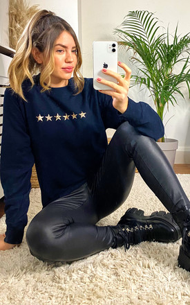 Star Print Jumper in Navy with Leopard Print Stars by LimeBlonde