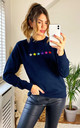 Star Print Jumper in Navy with Rainbow Glitter Stars by LimeBlonde