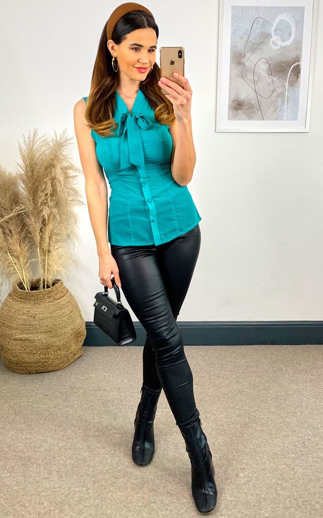 Courtney Chiffon Sheer Blouse in Teal by Hearts and Roses London