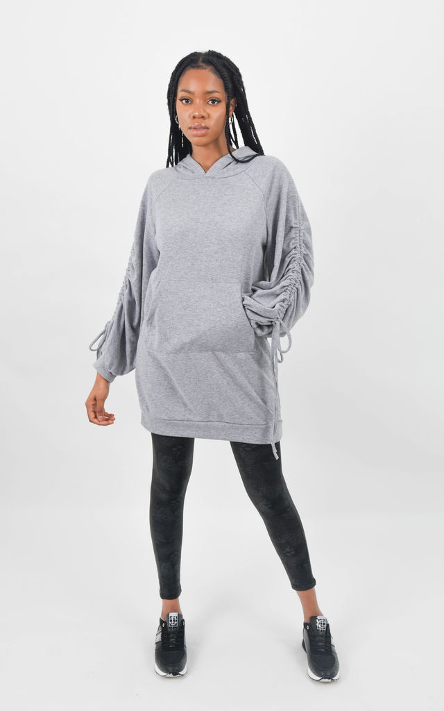 Grey Ruched Tie Sleeve Oversized Hoodie Dress by Boutique Store
