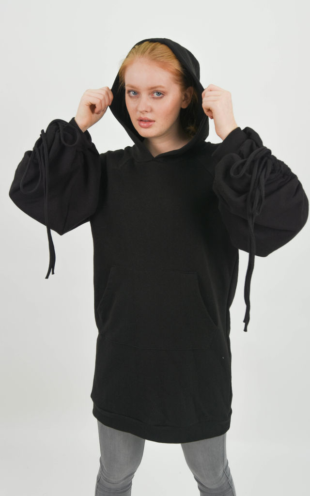 Black Ruched Tie Sleeve Oversized Hoodie Dress by Boutique Store