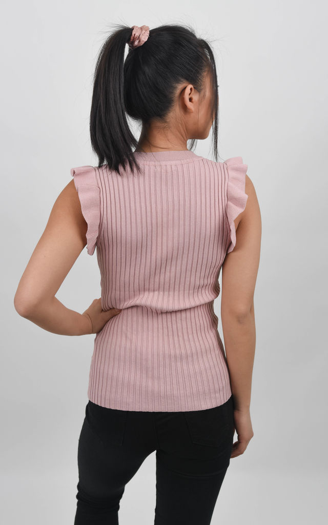 Pink Ruffle Trim Ribbed Top by Boutique Store