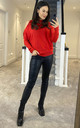 COLD SHOULDER LIGHT KNIT JUMPER RED by Suzy D