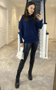 COLD SHOULDER LIGHT KNIT JUMPER NAVY by Suzy D