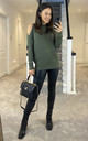 COLD SHOULDER LIGHT KNIT JUMPER KHAKI by Suzy D