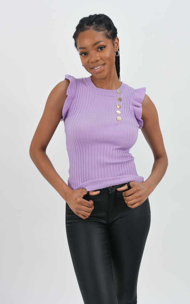 Lilac Ruffle Trim Ribbed Top by Boutique Store