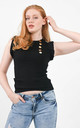 Black Ruffle Trim Ribbed Top by Boutique Store
