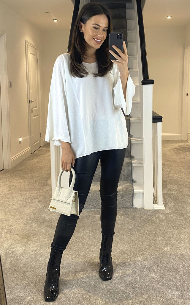 SOFT KNIT WIDE SLEEVE JUMPER WHITE by Suzy D