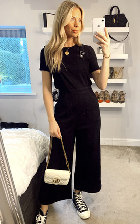 Tonya Black Cropped Dungarees by Collectif Clothing