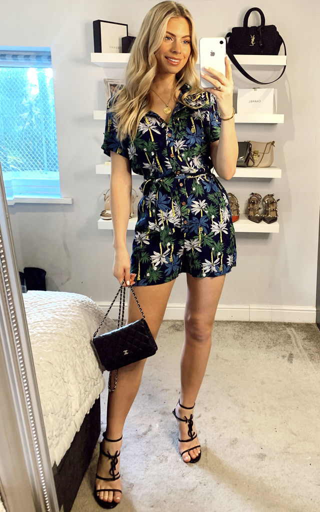 Frou Navy Palm Tree Print Playsuit by Collectif Clothing