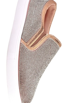 Nadine All Over Diamante Slip On Trainer in Rose Gold by Miss Diva