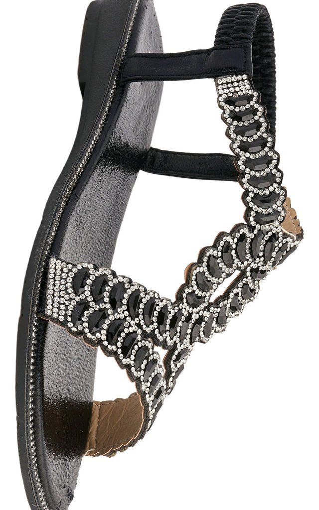 Chanice Dia & Gemstone Detail Flat Sandal In Black by Miss Diva