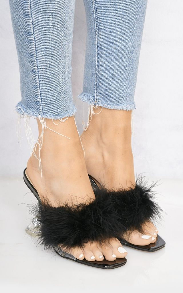 Poosh Fluffy Spool Heel Mule in Black by Miss Diva