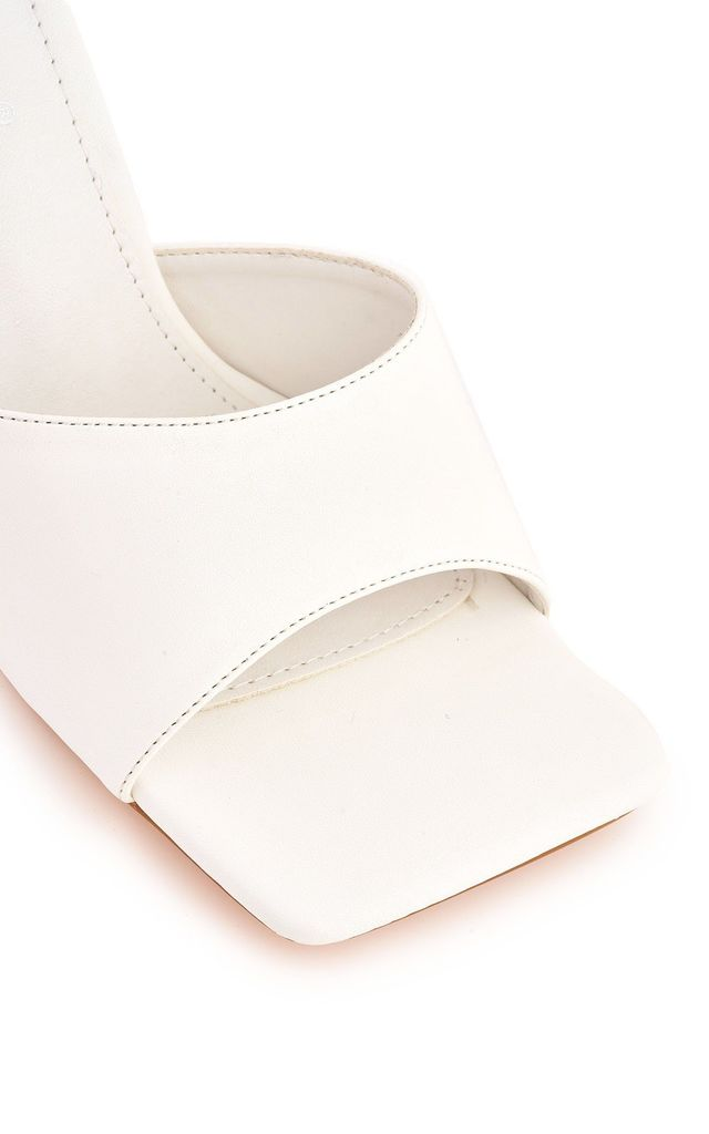 Nero Square Toe Plain Band Mule In White by Miss Diva