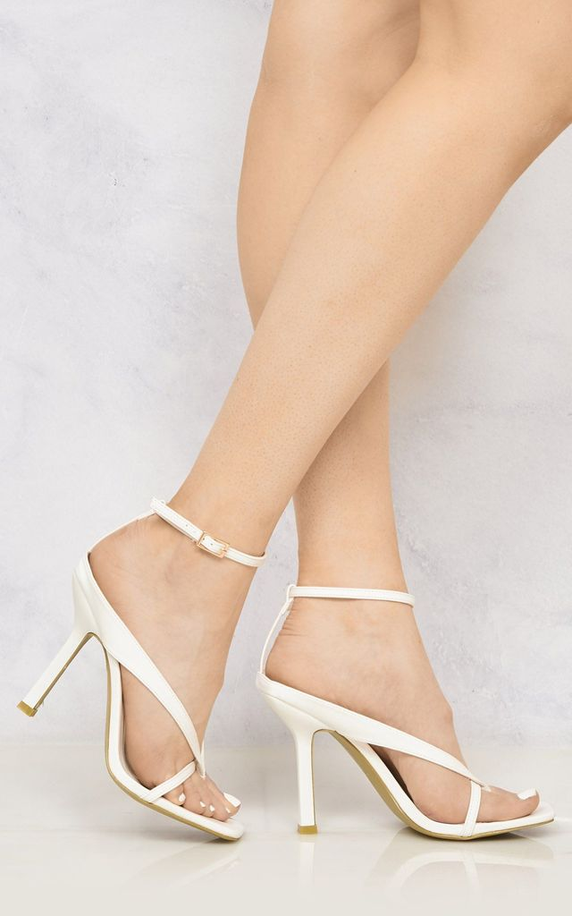 Melissa Ankle Strap Cross Front Ankle Strap Open Toe High Heel Sandal In White by Miss Diva