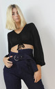 Navy High Asymmetrical Belted Waist Jeans by Boutique Store