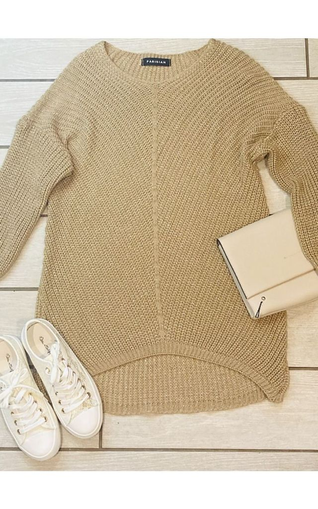 Oversized Knitted Jumper in Tan by Pink Lemonade Boutique