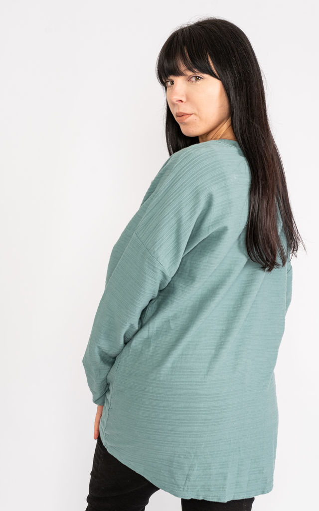 Ribbed Teal long sleeve cotton top. by Lucy Sparks