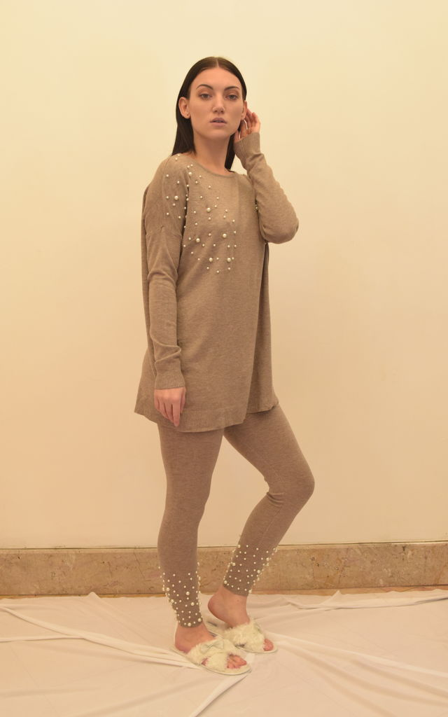 Oversized Knitted Top and matching Leggings in Beige by Oya London