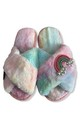 Fluffy Faux Fur Slippers - Rainbow/Rainbow by Pink Waters Resort