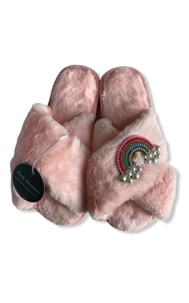 Fluffy Faux Fur Slippers - Candy Pink/Rainbow by Pink Waters Resort
