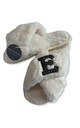 Fluffy Faux Fur Personalised Slippers - White & Black Letter by Pink Waters Resort
