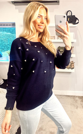 Embroidered Peal Accent Knitted Jumper In Navy by Yumi
