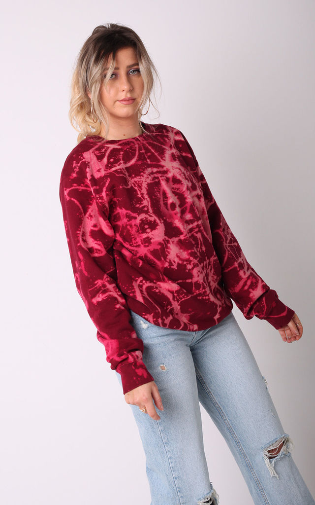 Deep Red Acid Washed Tie Dye Oversized Jumper by LimeBlonde