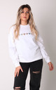 White Sweatshirt with Silver Glitter Hearts by Lime Blonde