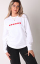 Jumper in White with Red Hearts by Lime Blonde