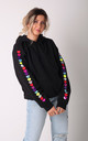 Hoodie in Black with Rainbow Glitter Heart Sleeves by Lime Blonde