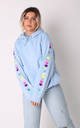 Hoodie in Baby Blue with Rainbow Glitter Heart Sleeves by LimeBlonde