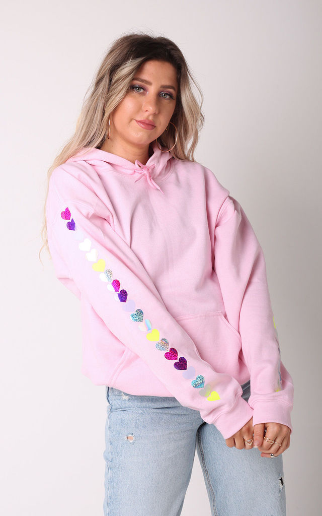 Oversized Hoodie in Baby Pink with Rainbow Glitter Heart Sleeves by LimeBlonde