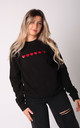 Jumper in Black with Red Glitter Hearts by Lime Blonde