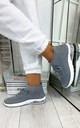 Kaia High Top Sock Trainers in Grey by Larena Fashion